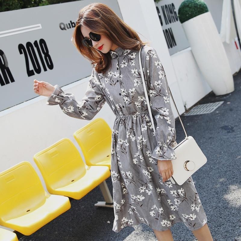 Осень зима кордуроя цветочный винтажный воротник с длинным рукавом платье женское вечеринка рюфля платье высокая эластичная талия печать женское платье Y200805