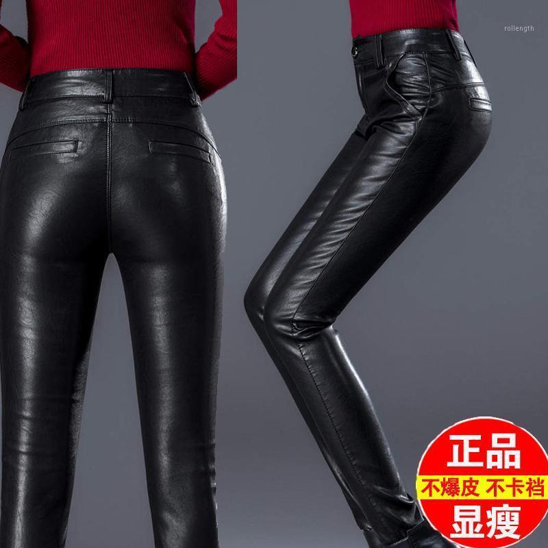Pantalones de piel de piel de oveja de las mujeres otoño invierno pantalones delgados lápiz damas negras de mediana altura delgada piel de oveja piel1