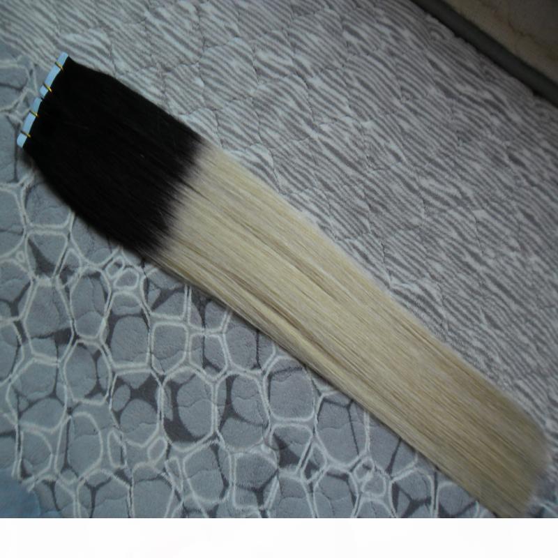 40pcs lot t1b 613 ombre extensiones de cabello 100g cinta en extensiones de cabello humano adhesivo adhesivo de piel recta trama invisible cinta de cabello extensiones de cabello