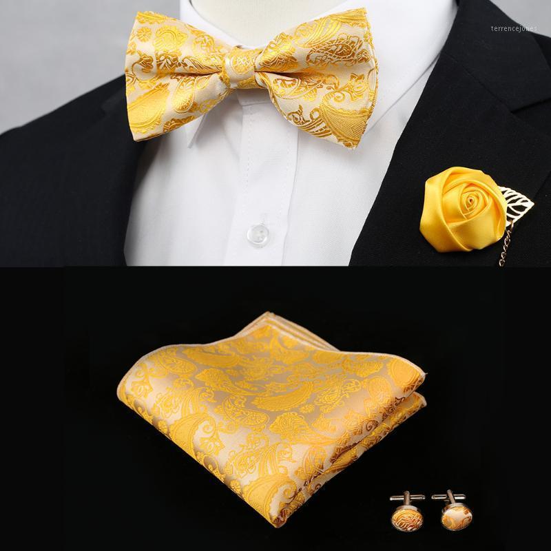 나비 넥타이 페이즐리 꽃 노란색 사전 묶인 골드 턱시도 넥타이 남성을위한 세트 100 % 실크 handkerchieves 조정 가능한 패션 캐주얼 파티 웨딩 1