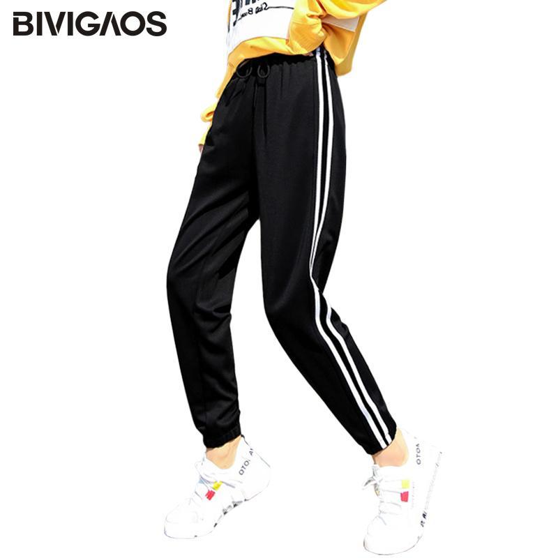 Pantalones BIVIGAOS primavera Nueva lateral doble rayado blanco Sweatpants pantalones casuales de las mujeres del lazo del deporte de las mujeres Pantalones de 3 colores S-3XL 1017
