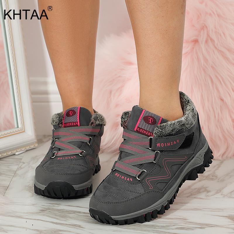 Femme Temps chaud en peluche cheville Bottes Femme en peluche Chaussures Femme HookLoop Non Slip couture Chaussures Confort extérieur Mode Chaussures Casual