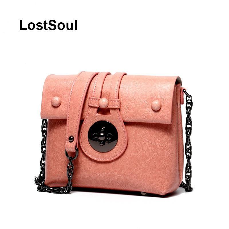 bolsa de la cadena LostSoul casuales crossbody cremallera de la manera bolsas de mensajero de las mujeres de cuero de vaca de color rosa bolsas negras hombro solapa de compras