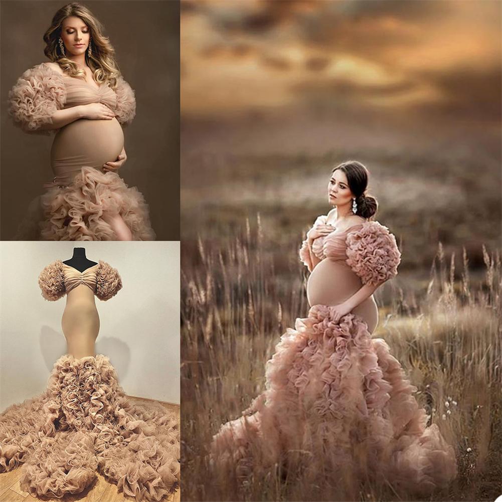 Vestido nocturno de volantes en escala vestido de maternidad para photoshoot o babyshower Photo Shoot Lady Sleepwear Bathrobe Sheer Nightgowns