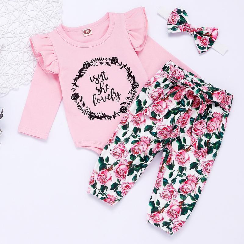 Kleidung Sets Baby Mädchen Herbst Nette Outfits Rundhals Langarm Brief Gedruckt Rüschen Bodysuit Floral Hosen Stirnband 3 Stück Set D301