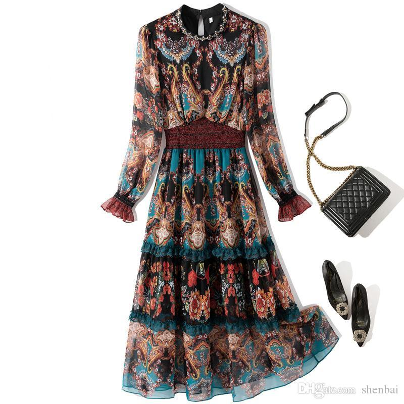 2021 Spring Long Sleeve Round Neck Black / Blue Paisley Print Lace Panelled Beaded Mid-Calf Dress Elegant Casual Dresses YJ185923
