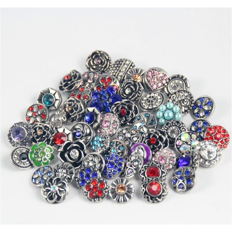 100 stücke Retro 18mm Snap Button Metall Strass Gemischt Stil Snap Chunk DIY Schmuck Fit Für Noosa Snap Chunk Wmtpqz Dh_seller2010