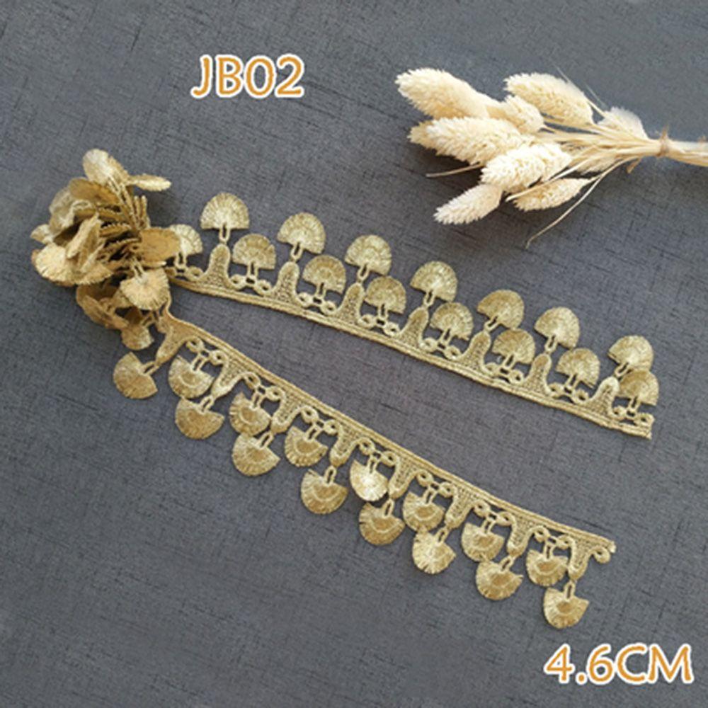Продажа по Yard Золотой металлическая нить кисточкой вышивка кружева ткани шили костюмы DIY кружевной отделкой