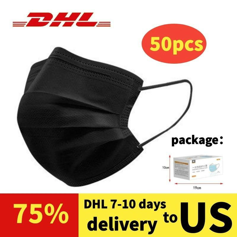 Face mask Customizable 500 pieces of black disposable dust box packaging windproof protective masks DHL 48 hours free