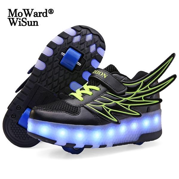 Размер 28-40 Детских Роликовые кроссовки с Светодиодными лампами Мальчиков светящимся для детей светящейся Обуви на Wheels Re заряженного C1005