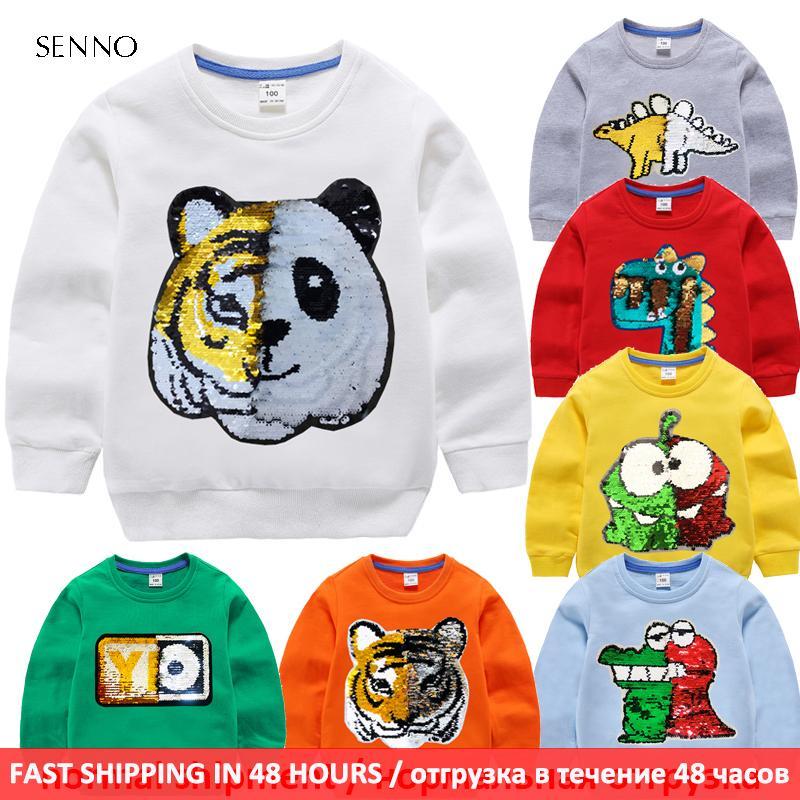 embroma sudadera con capucha bebé con los niños de lentejuelas otoño camiseta de la capa jersey 100% algodón de la ropa del manga larga 1006