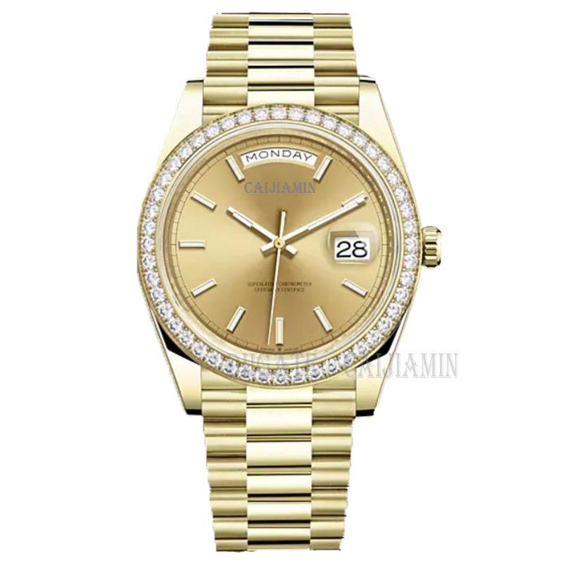 Caijiamin-U1 الجودة رجل التلقائي الميكانيكية ووتش الماس الساعات 41 ملليمتر الفولاذ المقاوم للصدأ المعصم للماء مضيئة النساء الساعات