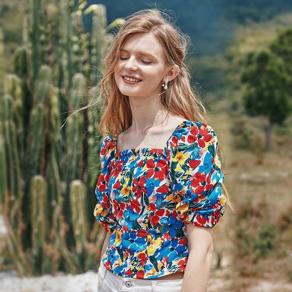 independencia valya + Escudo neta tapa de la camiseta de viento rojo tapa de la impresión 2020 Francés de manga corta cuello cuadrado camiseta wgjUm verano