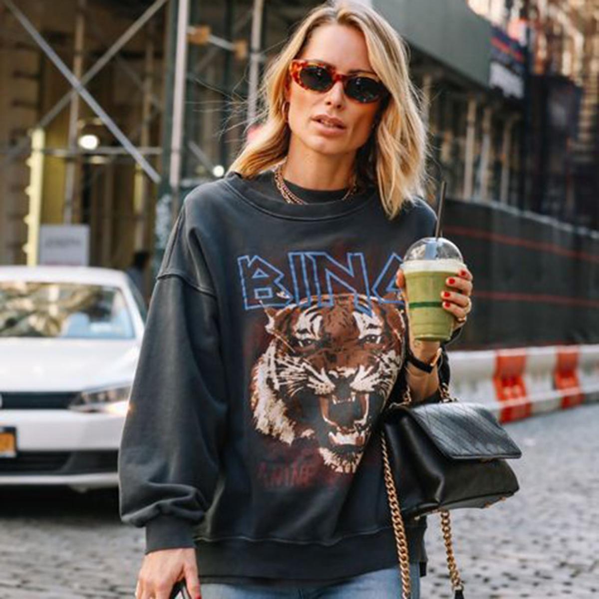 Black Tiger Kopf Grafik Boho Sweatshirt Frauen Herbst-Winter-lange Hülse O Ansatz 100% Cotton Pullover Lässige Vintage-Pullover 2020 Y1109
