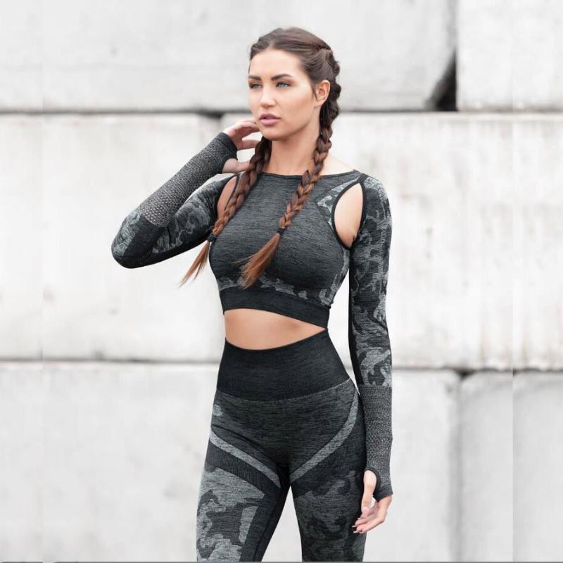 Nahtlose Yoga Set Trainingsanzug Camouflage Trainingskleidung für Frauen Atmungsaktive Fitness Crop Top Hohe Taille Yoga Hosen 2 Stück Set1