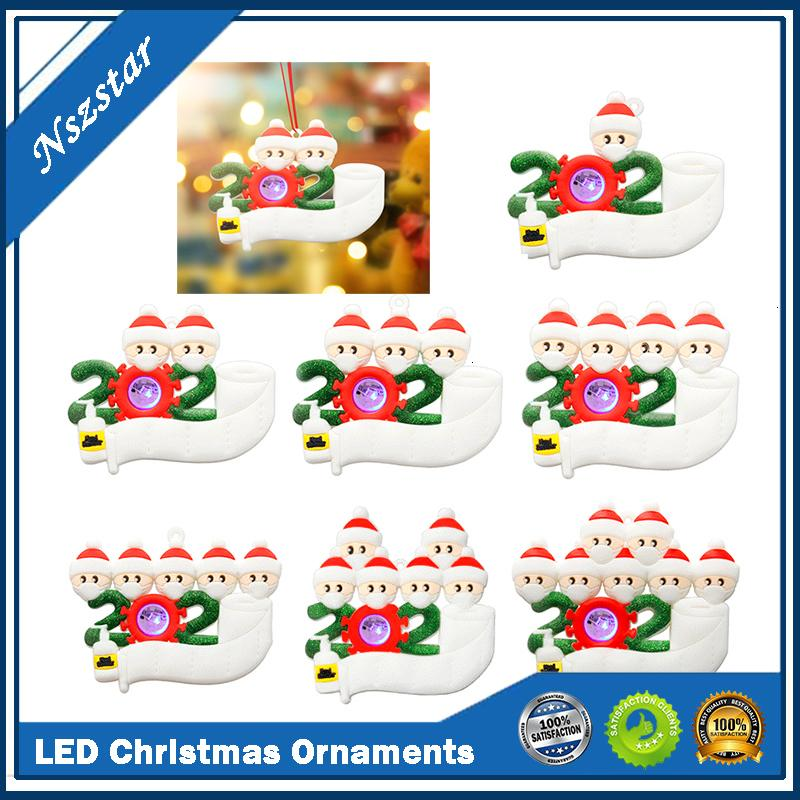 Ornamenti di quarantena 2021 Giocattoli LED Survivitore Personalizzato Famiglia di Natale Albero di Natale illuminazione Ornamento Decorazioni Party Favori