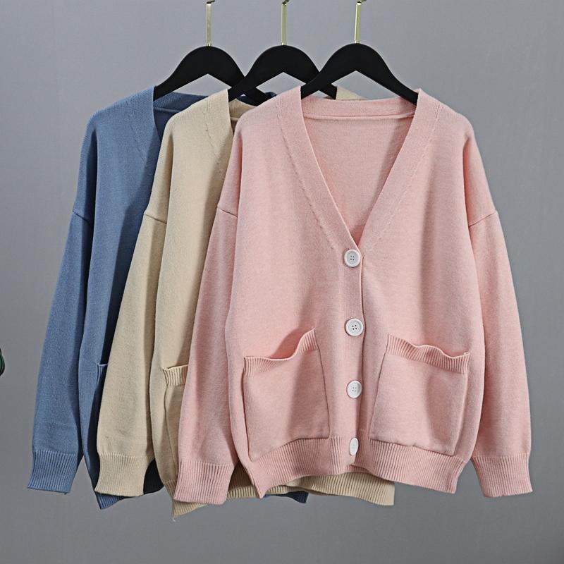 Gigogou Женские кардиганы свитер V шеи сплошные рыхлые трикотажные одежды Однорубка повседневная вязать кардиган вариант зимней куртки пальто Y200915