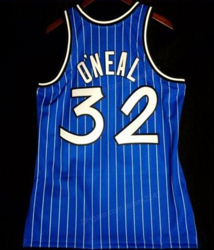 Ucuz Retro Özel Shaquille 32 o Neal Mitchell Ness Koleji Basketbol Jersey Erkek Mavi Dikiş Herhangi Boyutu 2XS-3XL 4XL 5XL Adı Numarası
