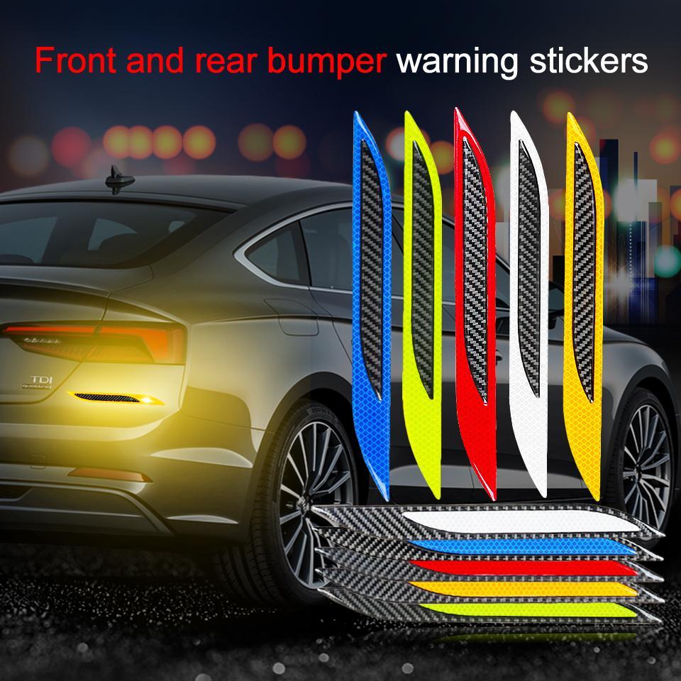 2pcs Fibra di carbonio Riflettente Sicurezza Avvertimento Avvertimento nastro adesivo Auto Bumper Riflettente Strips Secure Riflettore Adesivi Decalcomanie Auto Styling