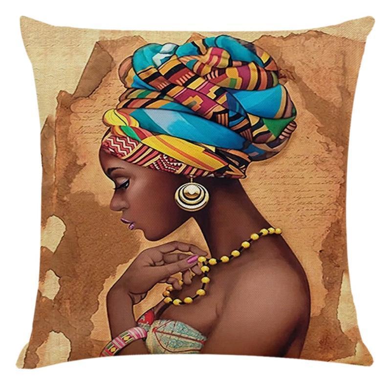Yastık / Dekoratif Yastık Afrika Kadınlar Kılıfları Kapakları Baskılı Minder Kapak El Ev Kanepe Durumda 45 * 45 cm Dekorasyon Parti