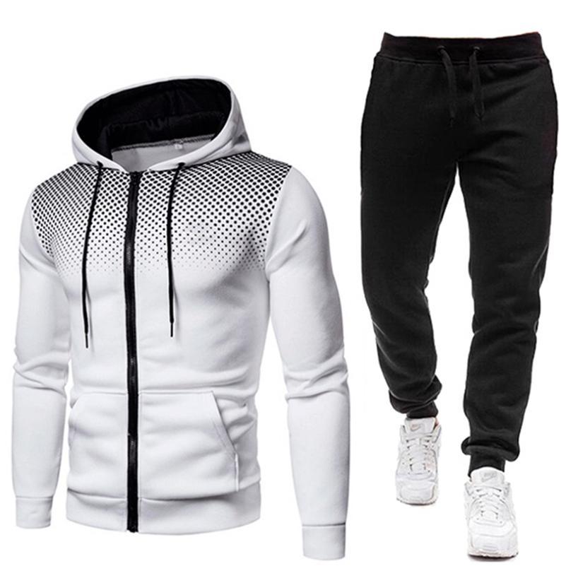 Eşofman Erkekler Set Set İki Adet Adam Spor Fermuar Hoodie + Pantolon Spor Suits Rahat Kazak + Sweatpants erkek Giyim Setleri LJ201124
