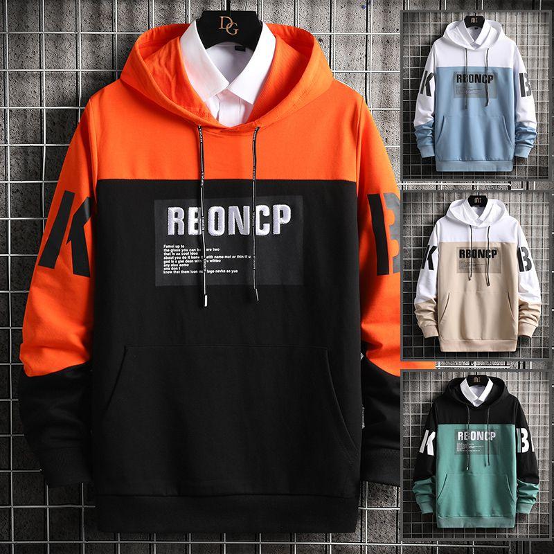 Broderie hommes avec capuche à capuche Sweats Casual Hauts pour hommes Vêtements de sport Pull orange Automne Hiver surdimensionnées Vêtements pour hommes