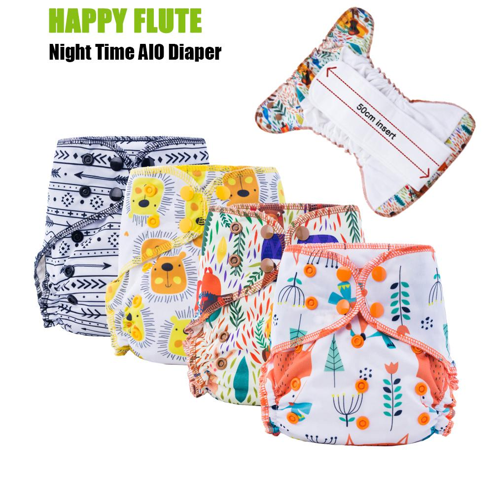 5Pcs Happy Flute Organic Bamboo Cotton Night Use AIO Cloth Diaper Heavy Wetter Over Night Baby Diapers Fit 3-15kg Baby 201117
