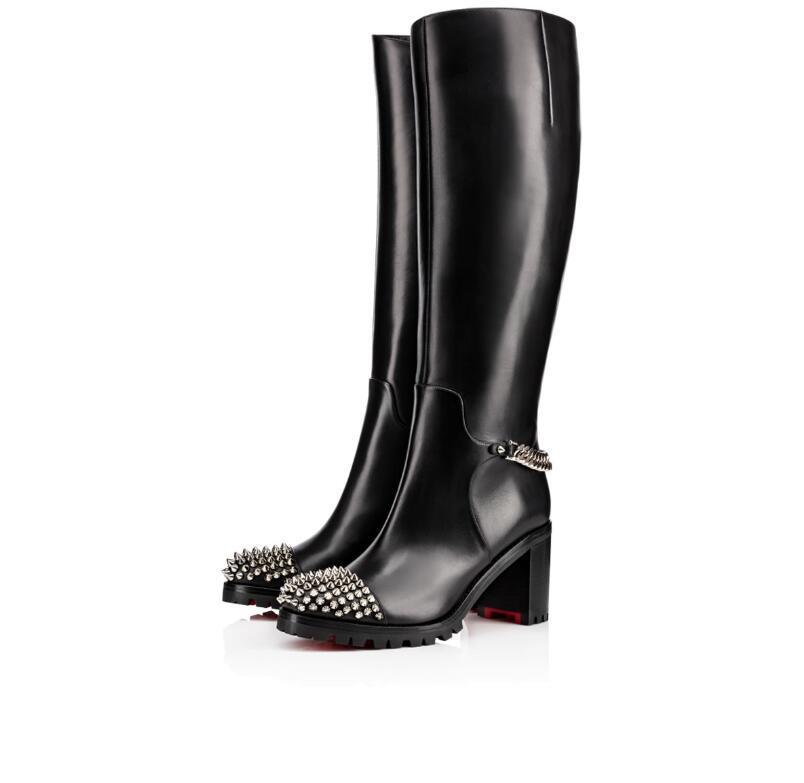 Marques élégantes Croche Cate Red Chaussures de fond pour les femmes Lug Sole Bottes Courtes Comfot bout rond Lady genou Parti Booty Robe bottillons EU34-43