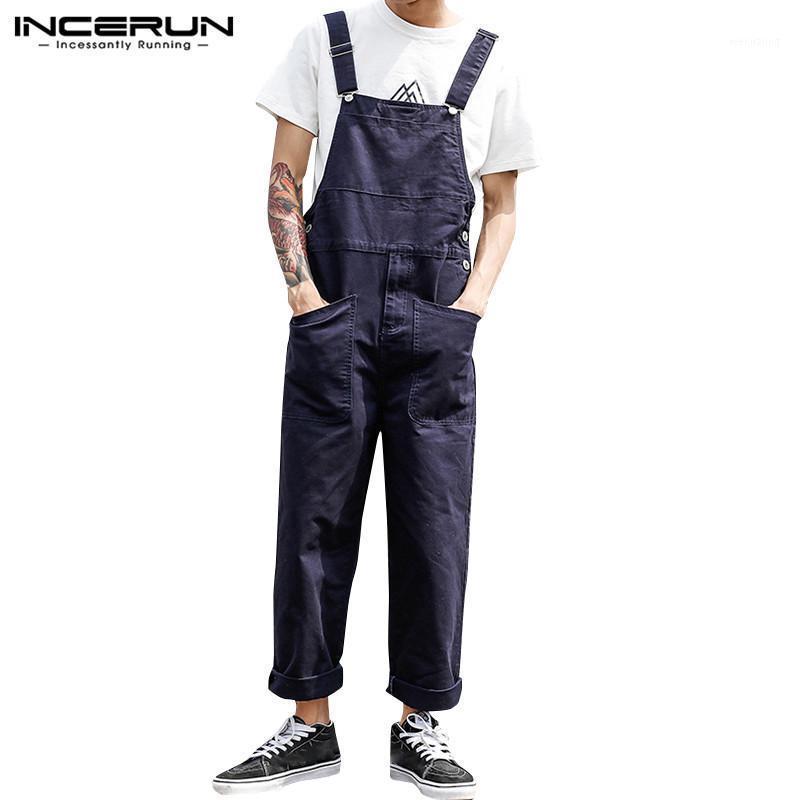 Мужские брюки Ancerun Fashion Men Jumpsuits Joggers Streetwear To Solid Bib Multi Cockets 2021 Случайные ремешки Мужские грузовые комбинезоны плюс размер1