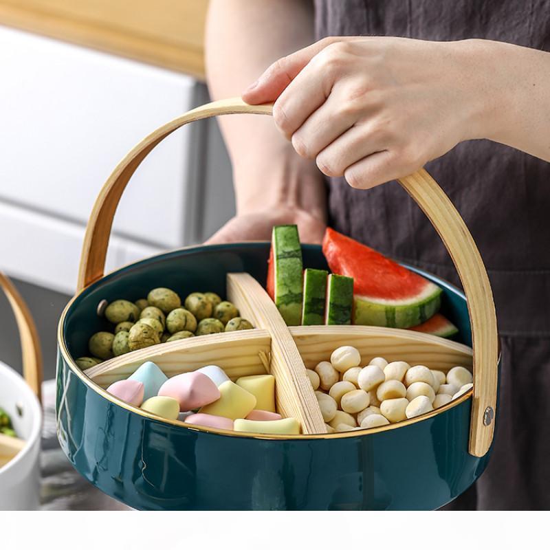 Nordic maniglia insalata piatto di frutta in ceramica ciotola soggiorno casa piatto di frutta secca vano semplice spuntino LB01089