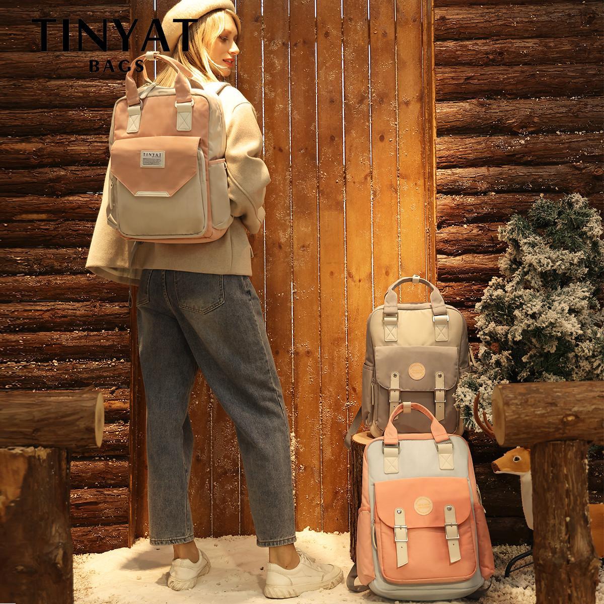 TINYAT Candy women canvas waterproof feminina laptop backpack 15 Pink Patchwork school backpacks bags for teenage girls Q0112