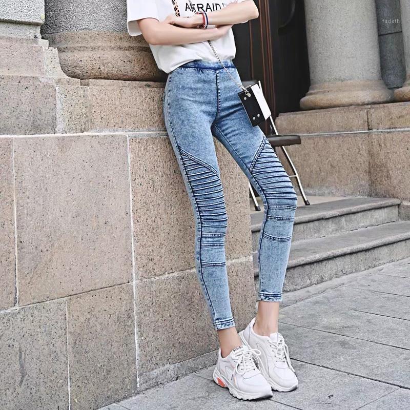 Automne Femme Moto Biker Jeans Vintage Jeans plissés Spring Femme Casual Skinny High Elastic Crayon Denim Pantalon Feminina1