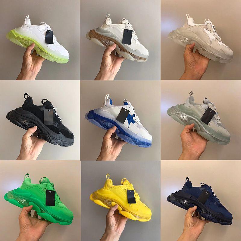 망 트리플 S 클리어 솔 솔 스니커즈 디자이너 신발 여성 트레이너 네온 녹색 빈티지 아빠 트레이너 명확한 거품 바닥 주자 하이킹 신발