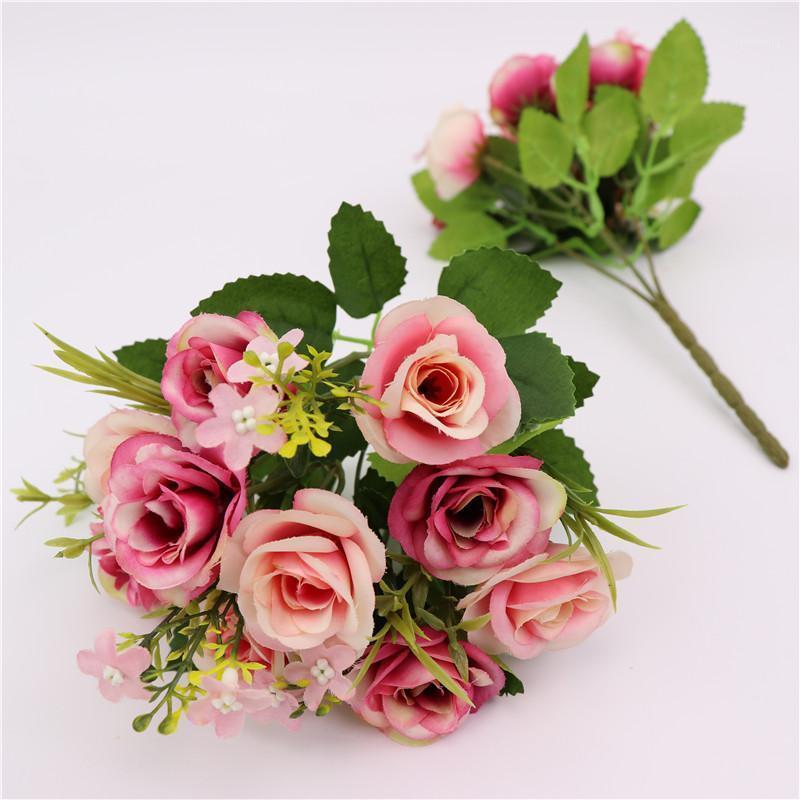 Decor de mariage Party Plastic 10 Têtes De Style Européen Artificial Rose Ornement Floral Faux Fleurs Nouveau 4 Couleur Festival Home1