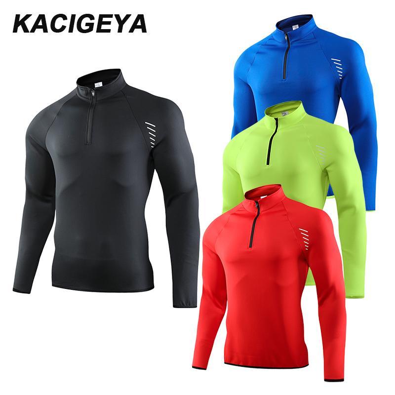 Uzun Kollu Spor Gömlek Standı Yaka Erkekler Hızlı Kuru Açık Kazak Nefes Jimnastik Eğitimi T-Shirt 201004 Koşu