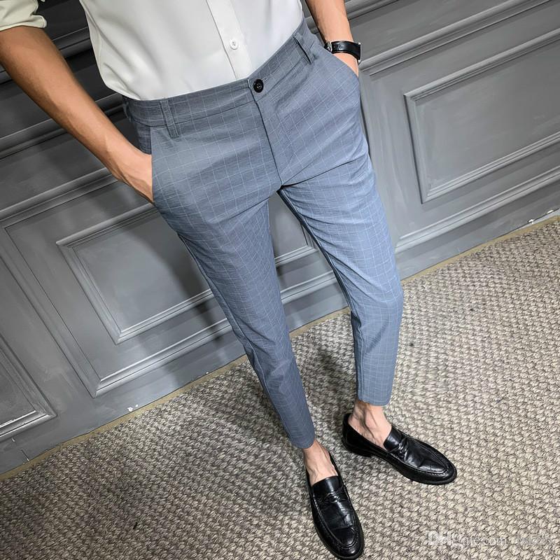 2020 Nuevos Hombres de estilo británico Pantalones de tela escocesa Moda Negocio Pantalones formales para hombres Slim Fit Oficina Pantalones Vestido