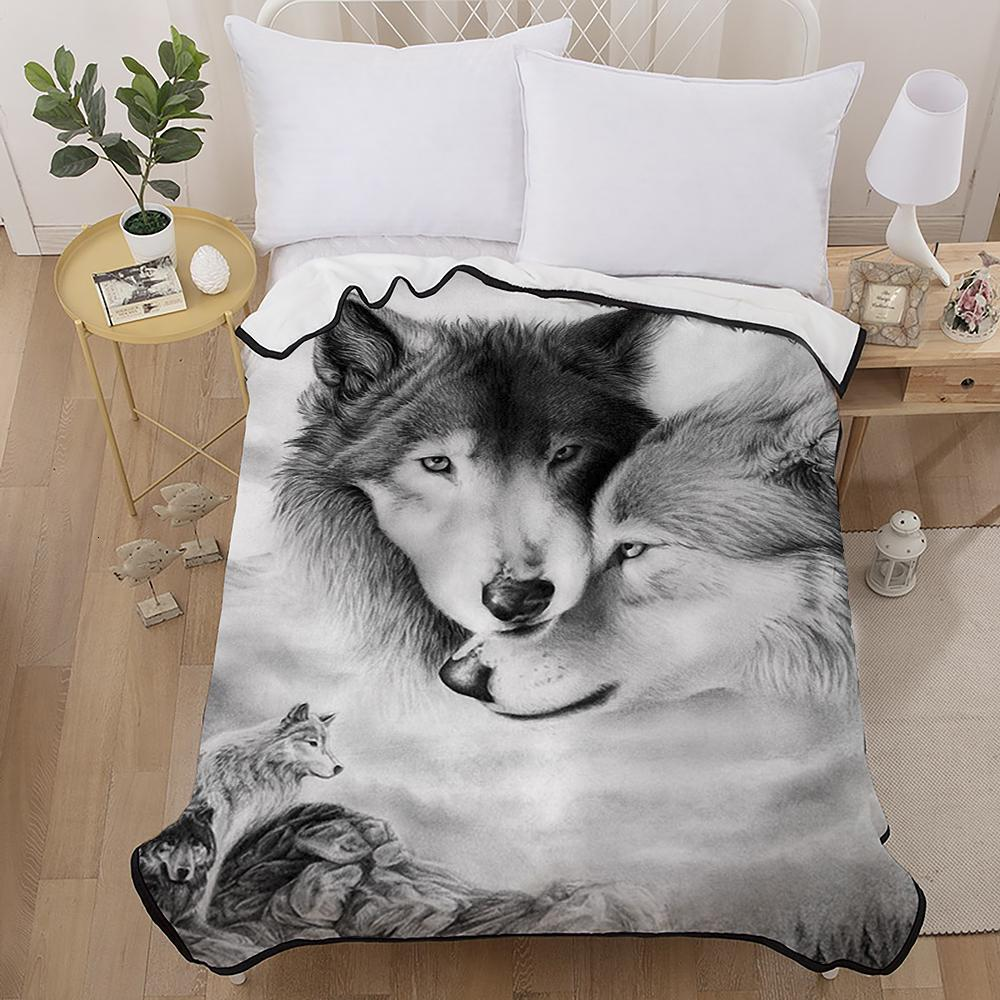 3D Lovers Wolves Throw Blanket Air Conditioning Flannel Blanket Couples White Wolf Short Plush Coral Fleece Blanket 150x200cm