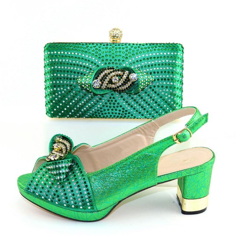 Зеленая партия набора высокой пятки сандалии обуви соответствия с набором сумки для леди CR2105 высоты каблука 7сма