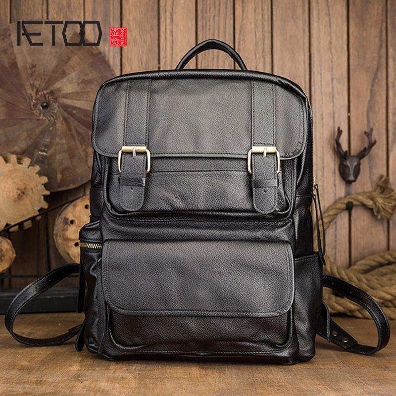 Mochila de cuero HBP Aetoo, mochila de negocios informales para hombre