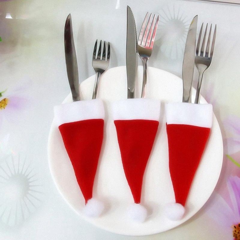 NOVO 10PCS de Natal Caps Faqueiro Titular Fork Colher bolso Natal Decor Bag Anoy #