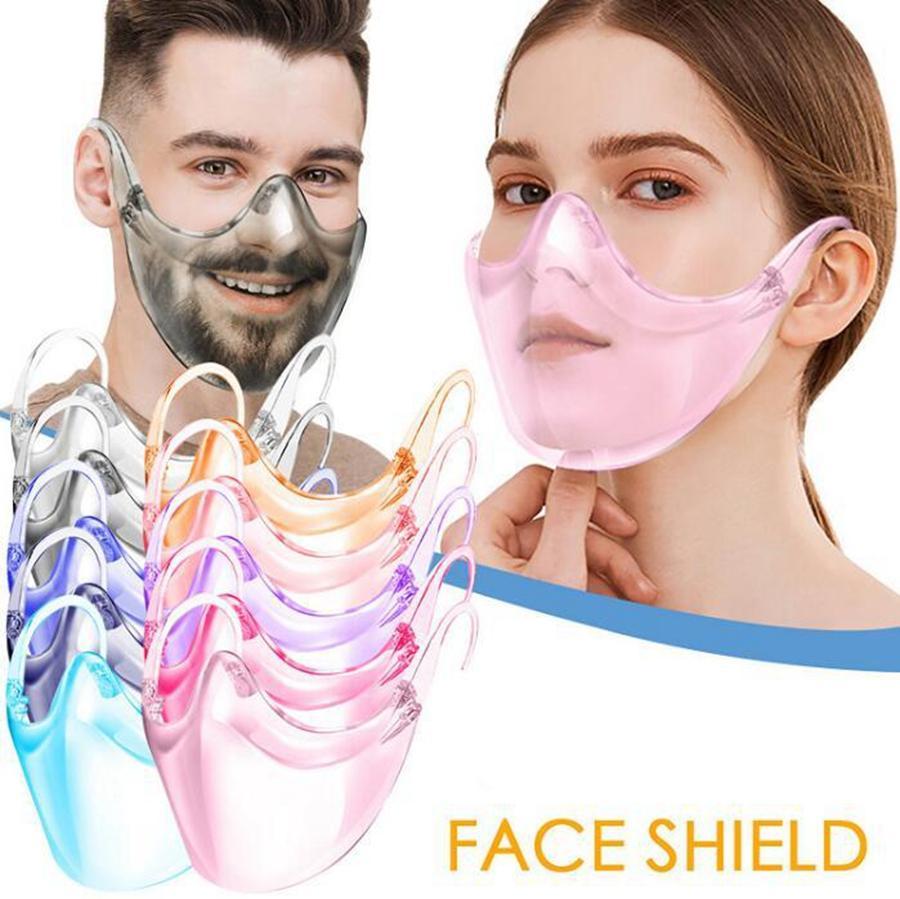 Transparente máscara protectora del escudo pc anti salpicaduras Aislamiento Boca de la cubierta de 9 colores unisex de diseño al aire libre transparente DDA747 Máscara