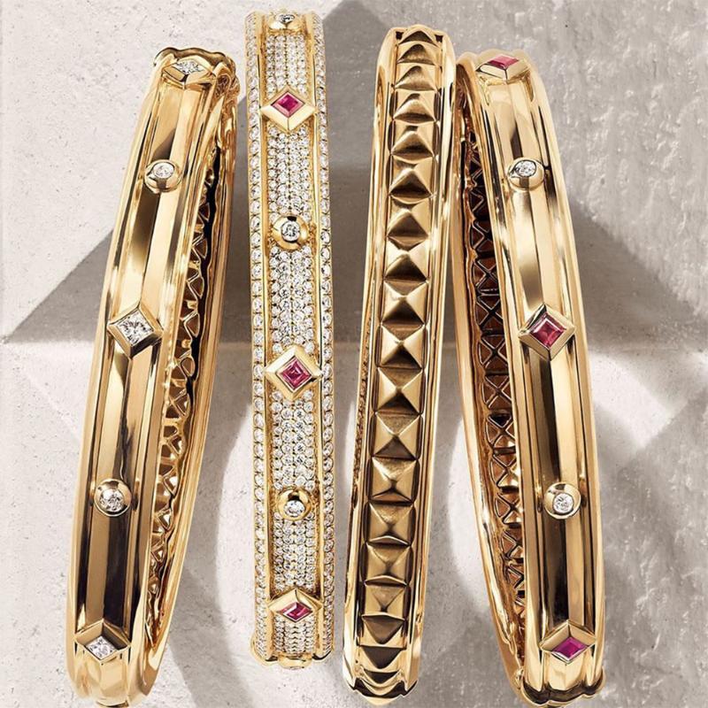 Godki Big Fashion Luxury Bolgle Bangle Bangle para mujer Fiesta de boda Multi Cubic Zirconia Crystal CZ Dubai Gold Color Bracelet 2021