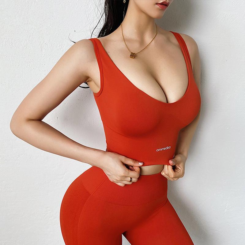 Alta resistência à prova de choque esportes sutiã mulheres sexy baixo peito letra exercício yoga sutiã seco seco sem costura tanque de corrida