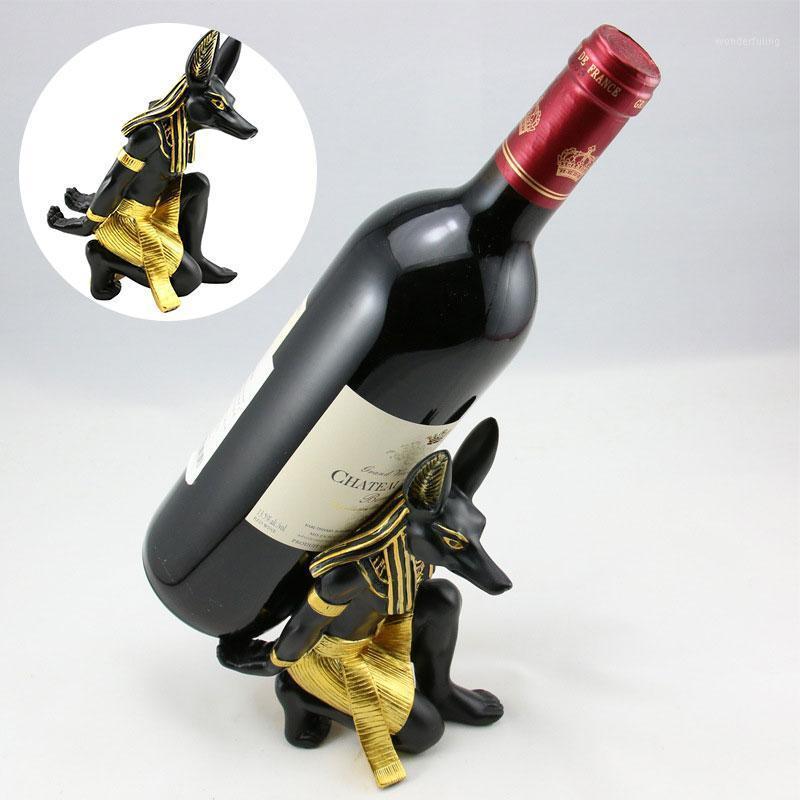 Древние египетские анубис винная стойка гостиной фигурки смолы ремесло мода винодельческое сиденье Египет держатель бутылки орнамент1