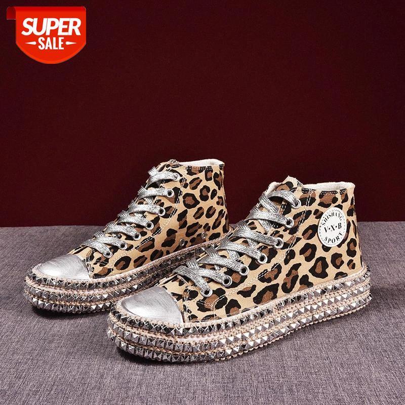 Frauen Turnschuhe Sexy Leopard Print Mode Nieten Frauen Leinwand Schuhe Korean Freizeit Lace-up Low High Top Sneakers Korb Femme # U931