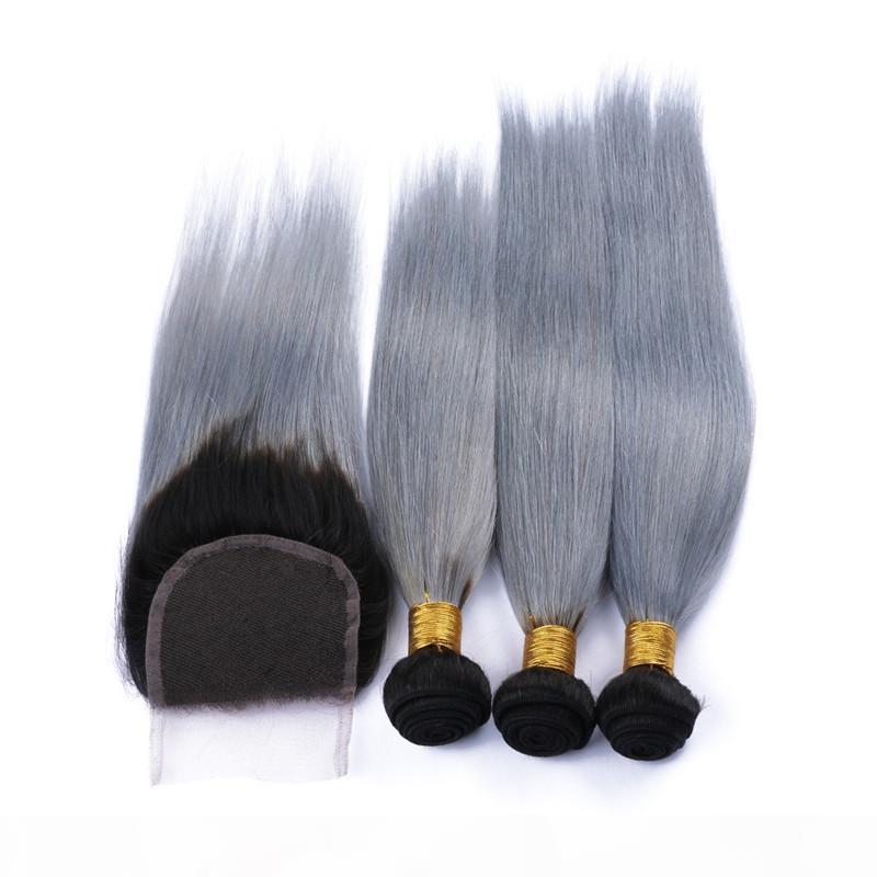 Malaysian Silbergrau Ombre Humanhaar mit Verschluss 4pcs los # 1b grau ombre malaysisches gerades Haar 3bundles mit 1 stück 4x4 Spitzenverschluss