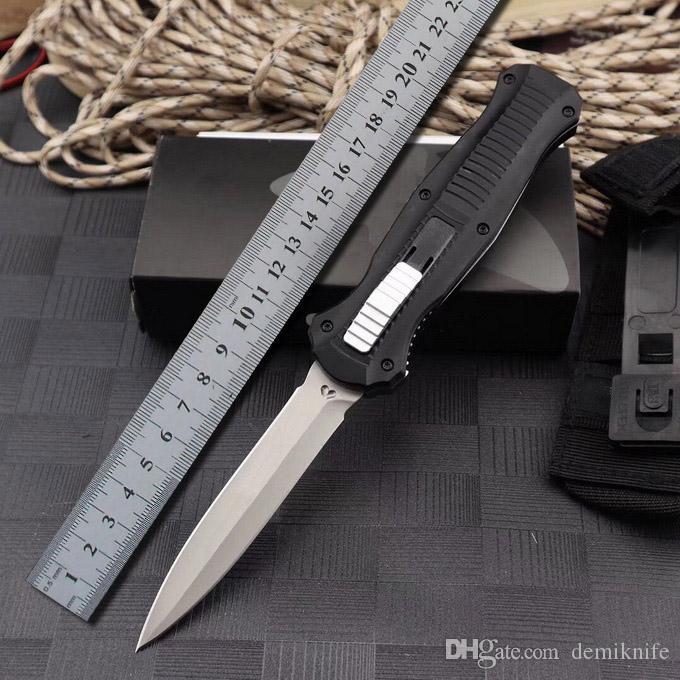 새로운 벤치 BM 3300 더블 액션 접이식 자동 칼 D2 블레이드 알루미늄 핸들 야외 포켓 자동 전술 생존 나이프 BM 3310 42 UT88