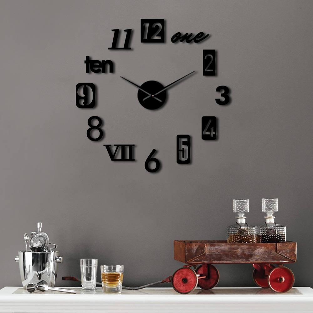 Diversi tipi di numeri 3D fai da te muto della vigilanza di orologio autoadesivo della casa di modo corredo Decoration Housewarming regalo Orologio da parete moderno