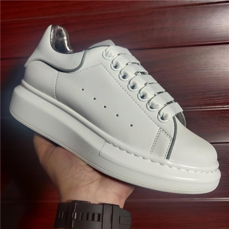 2021 حار بيع الرجال النساء منصة عودة أحذية رياضية بيضاء حقيقية جلد الغزال المدربين الراحة نمط خمر عارضة الأحذية مع حقيبة الغبار