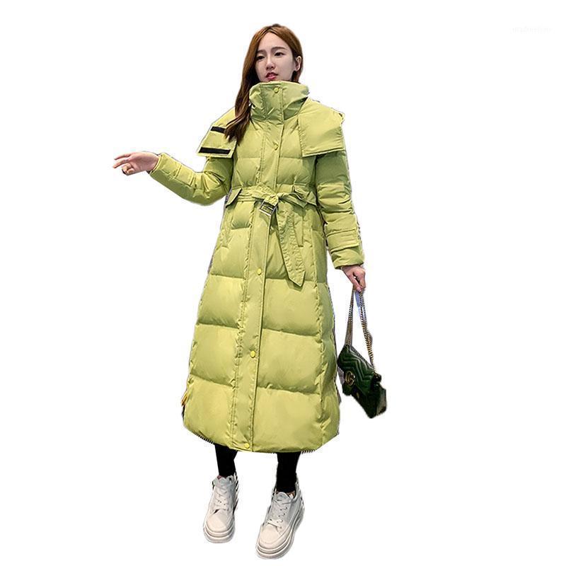 Largas parkas de mujer abrigo de invierno con espesor cálido sobre la rodilla algodón acolchado Outwear Slim Belt Parke Chaqueta 3xl H1561